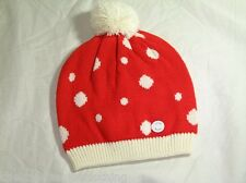 BNWT  - BENCH Spotted Bobble Beanie Hat With Fleece Lining  Red  M / L