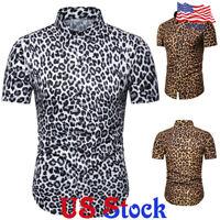 Fashion Men's Slim Fit Leopard Print Casual Shirt Blouse Tops Button  T-shirt