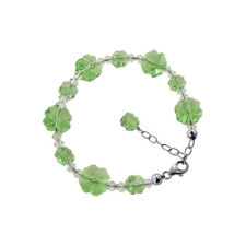 """Peridot Color Flower Crystal 7 to 9"""" Silver Bracelet with Swarovski Elements"""