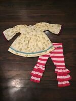Matilda Jane EUC Paint By Numbers Baby Girl's Tunic Top & Ruffled Pants Set 2