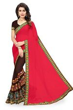 Women's Kota Doria Georgette Saree With Unstitched Blouse Piece