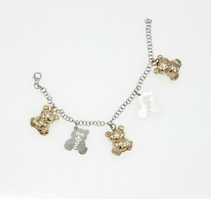 Tous Style 925 Sterling Silver Gold Plated Bears Charm Bracelet