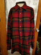 XL Pendleton Red Plaid Wool Long Sleeve Elbow Patch  Men's Button  Shirt