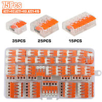 75Pcs 221-412 Lever Nut Compact Splicing Connector 2/3/5 Conductor Set For Wago