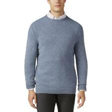 Tasso Elba Mens Blue Dual-Textured Long Sleeves Crewneck Sweater S BHFO 3222