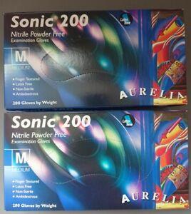 2 x boxes Aurelia Sonic 200 Gloves Nitrile Powder Free Examination MEDIUM RRP£34