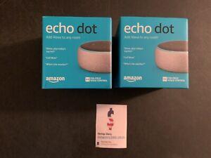 2-pack Amazon Echo Dot 3rd generation Smart Speaker W/ Alexa Heather Gray New