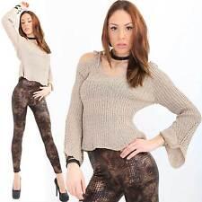 Glamour Pullover Schulterfrei Fledermaus Ärmel  Exclusives Design gold beige V