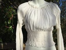 New_Romantic Renaissance Style_Peasant Boho Smocked Waist Top_White_Beautiful