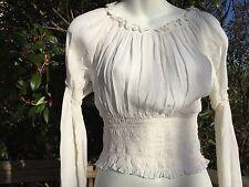 New_Romantic Renaissance Style_Peasant Boho Smocked Waist Top_White_Beautiful