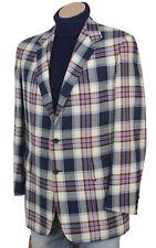 Vtg 60s Hickey-Freeman Kleinhans Sportscoat Plaid Blazer Suit Coat Sportcoat 41