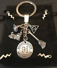 HARRY POTTER KEYCHAIN Hogwarts Express DEATHLY HALLOWS Charm Quality Keyring