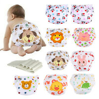 1/5 Diaper +5 Inserts Baby Washable Adjustable Reusable Cloth Diaper Nappies Lot