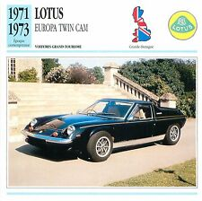 Lotus Europa Twin Cam GT 4 Cyl. Sport 1971 GB/UK CAR VOITURE CARTE CARD FICHE