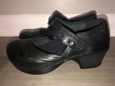MINT Dankso Black Leather Casual Mary Jane Shoes Clogs Womens Size 8.5 -9  EU 39