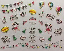 Nail Art 3D Decal Stickers Party Monkey Tiara Hot Air Balloons Banana TJ225
