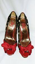 Dolce & Gabbana Satin Peeptoe Ruby  Bow Black Polka-dot Patent Leather Heel 37.5