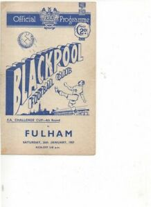Blackpool v Fulham 1956/57 FA Cup 4th round includes Stan Matthews autograph