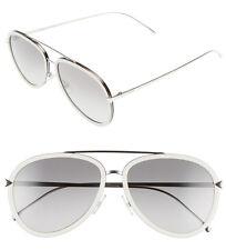 FENDI 57mm Aviator Sunglasses FF0155S Beige-Palladium 100% Authentic NWT $465