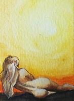 ACEO ORIGINAL watercolor ART MODERN figurtive woman expessive MINIATURE
