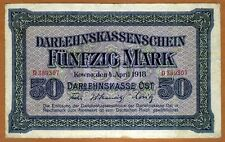 Germany, 50 Mark, 1918, P-R132, Occupation of Lithuania WWI, F
