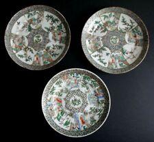3 assiettes porcelaine Canton famille verte Chine chinese porcelain plate XIX