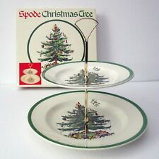 Spode Christmas Tree 2 Tier Serving Plate Tray Platter England S3324L