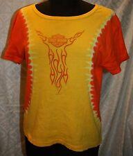 Harley Davidson Motorcycles Myrtle Beach T-shirt L Womens Biker Tie Dye Yellow