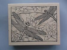 PEDDLER'S PACK RUBBER STAMPS LARGE DRAGONFLY BACKGROUND NEW wood STAMP
