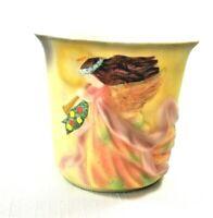 Lang Porcelain Votive Candle Holder w/Embossed Holiday Angel on Front    NEW