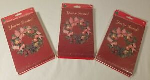 Vintage Gibson Christmas Party Invitations Red w/ Wreaths NOS Lot of 3 8ct Packs