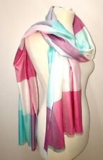 Cashmere Blend Scarf Pashmina Blue Pink Block Colour Morgan & Oates