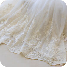 "Lace Fabric Beige Tulle Small Floral Cotton Embroidered Bridal 51"" width 1 yard"