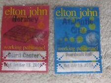 Elton John World Tour 2008 working personnel badges-lot of 2