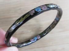 Vintage Black Enameled Cloisonne Bangle Bracelet ~ 13-G1396