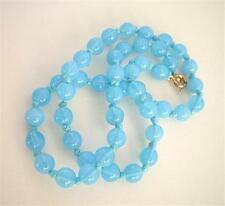 """Lush Vintage Opalescent Turquoise Glass Knotted Necklace - 15"""""""