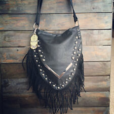 Womens Black Studded Leather Tassel Cross Body Moda Bag & Free River Island Gift