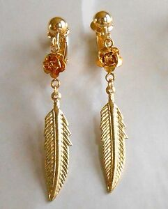 PRETTY ROSE & FEATHER LEAF DANGLES - GOLD-PLATED CLIP ON EARRINGS (or hooks)