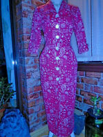 TARANTULA button-down hourglass dress 50s Vintage Repro wiggle rockabilly red S