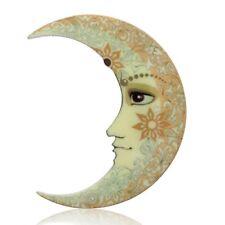 Women Costume Chirstmas Party Jewelry Handmade Printing Nature Moon Brooch Pin