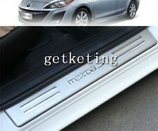 4PCS SCUFF DOOR SILL PANEL STEP PLATES STAINLESS For MAZDA 3 2009-2012 2008 2010