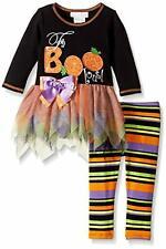 BONNIE JEAN BABY Girls Halloween Tutu Tunic Legging Set FaBOOlous, 0/3M-4T, NWT