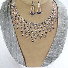 Schmuckset Collier Ohrringe Kristall Strass Braut Halskette Kette Silber Blau