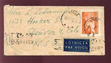 POLAND 1949 REGISTERED MINIATURE COVER to COLORADO USA