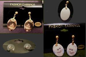 CAT Earrings Porcelain Gold Plated Manx American Persian White Brown Pet Jewelry