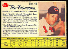 1962 POST CEREAL CANADIAN BASEBALL #40 Tito Francona NM Cleveland Indians SP
