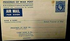 BRITISH PRISONER OF WAR POST - AIR MAIL...KRIEGSGEFANGENENPOST  1 of 2