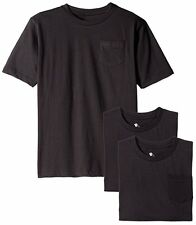 *American Hawk Big Boys 3 Pack Pocket Crew Neck T Shirts Black Size 8 New (A-1)