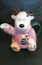 Vintage Hand Decorated Reindeer Tea Pot