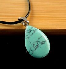 Turquoise Gemstone Tear Drop Pendant on a Black Waxed Cord Necklace #771